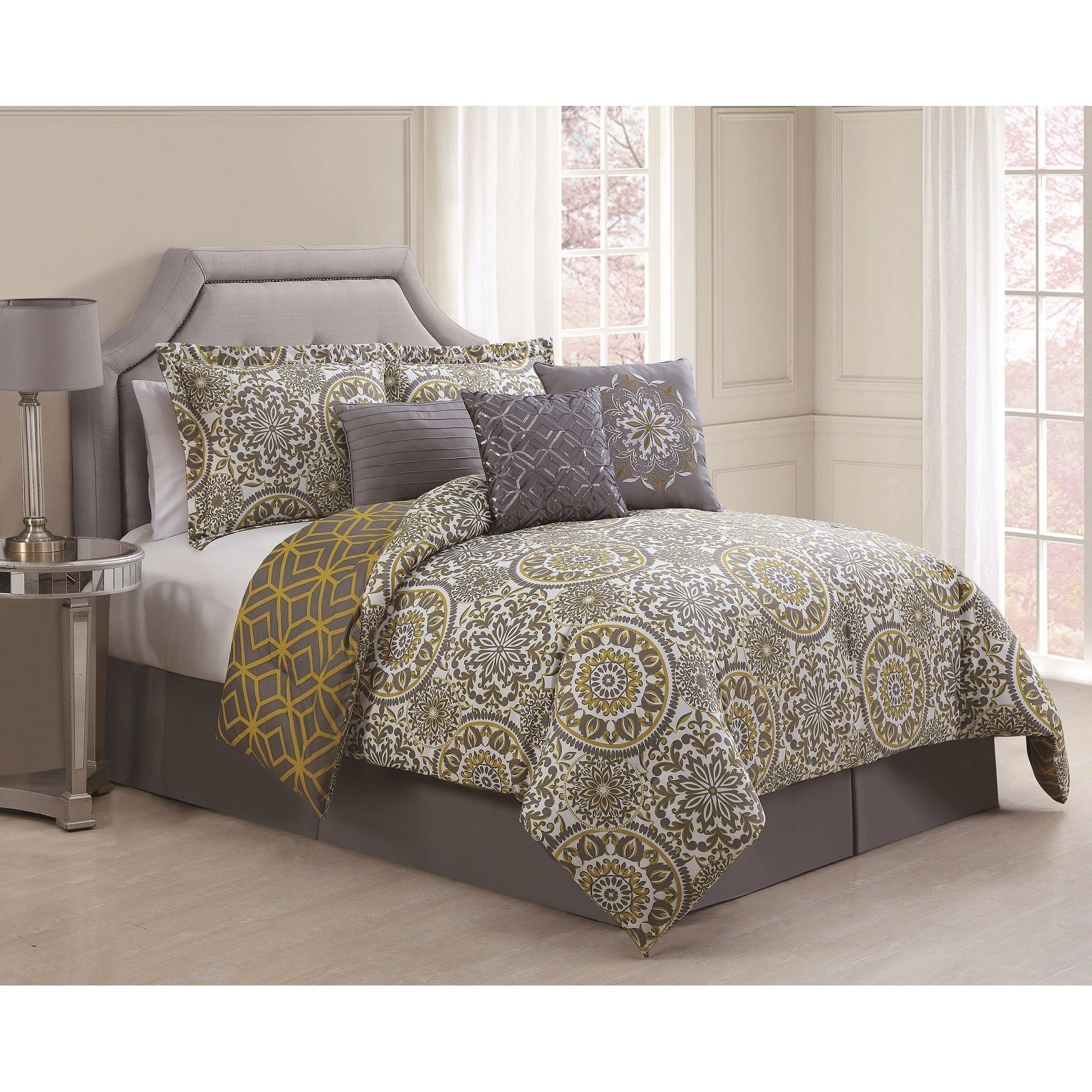 Dark gray and yellow bedding - Add A Simple Elegnace To Any Decor With This Stunning Grey And Yellow Seven Piece Comforter