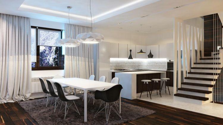 Esszimmer Design in Schwarz-Weiß mit Eames-Stühlen