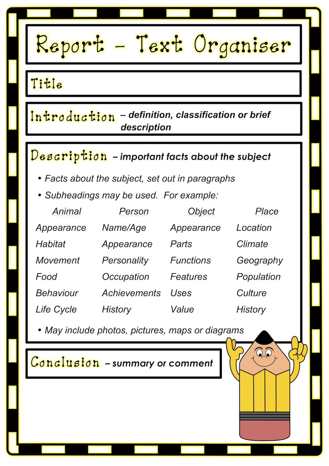 Report Writing Text Organiser Classroom Treasures Report