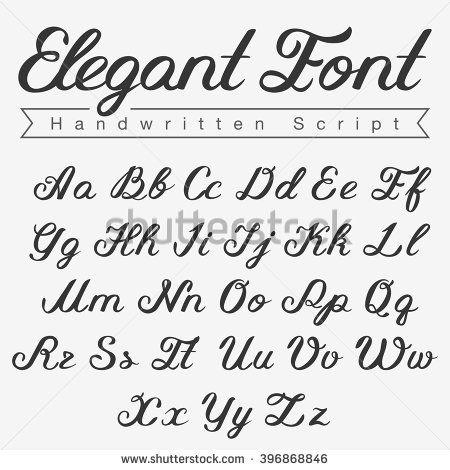 Elegant Handwritten Script Font Design Vector Calligraphy Lettering Typeface Letters Uppercase Lowercase