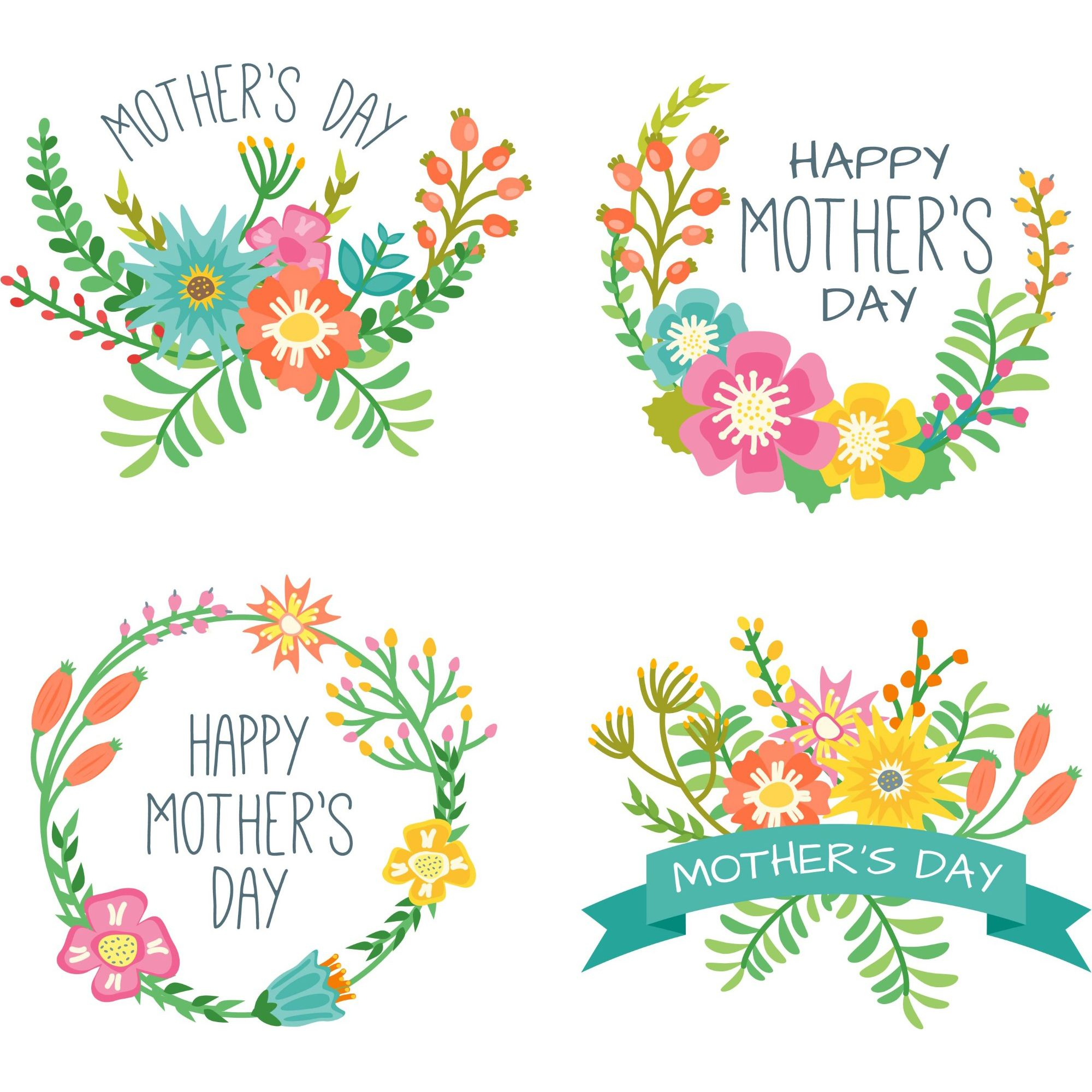 Mothers Day Beautiful Awesome Flowers Wreaths Collection Mother S Day Gift Card Happy Mothers Day Clipart Mother S Day Printables