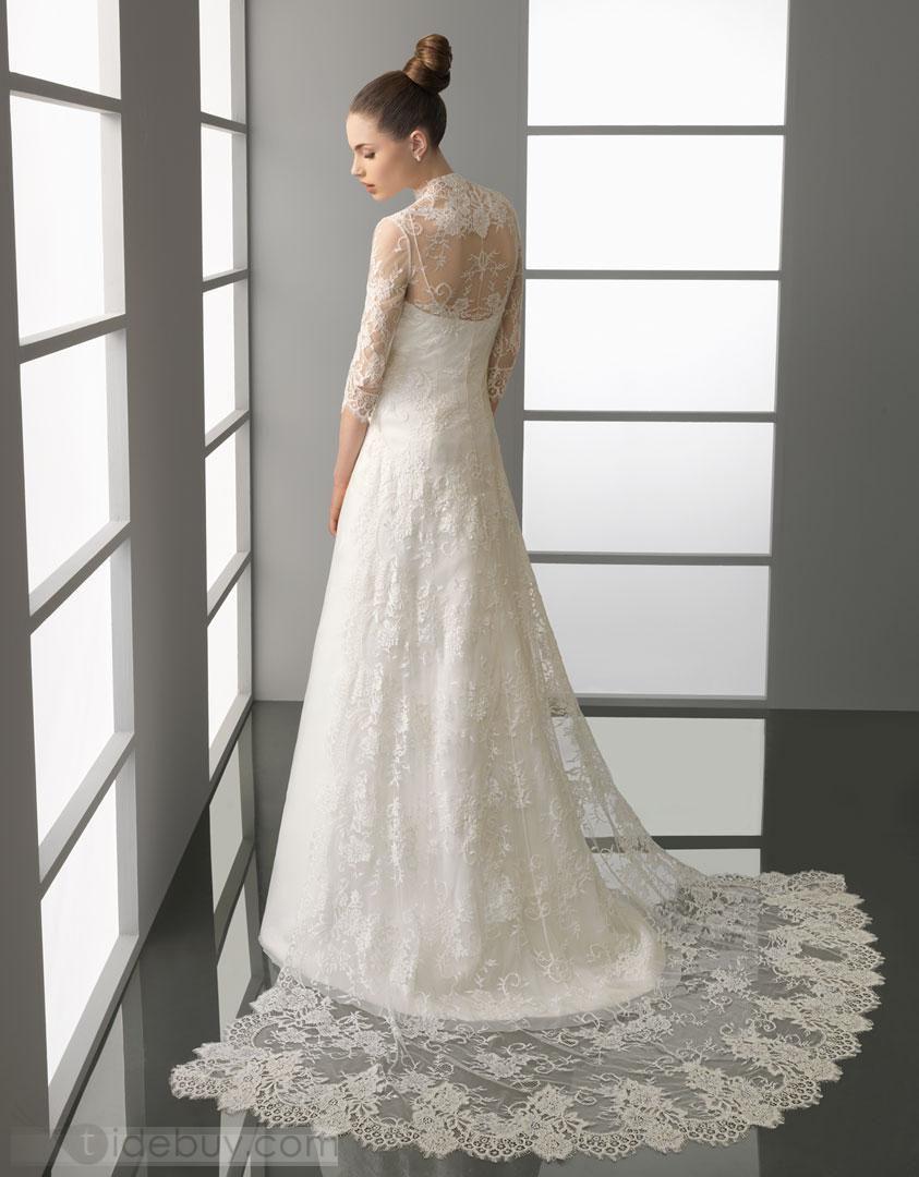 Natural wedding dresses  Pretty SheathColumn Floorlength length Sleeves Chapel Train