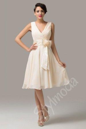 Svatební šaty krátké   Společenské šaty béžové IVORY CL6015 SKLADEM - S  (36) d302215051