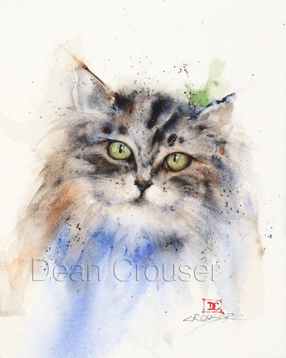 Kitten Watercolor Print Cat Painting Cat Art By Dean Crouser