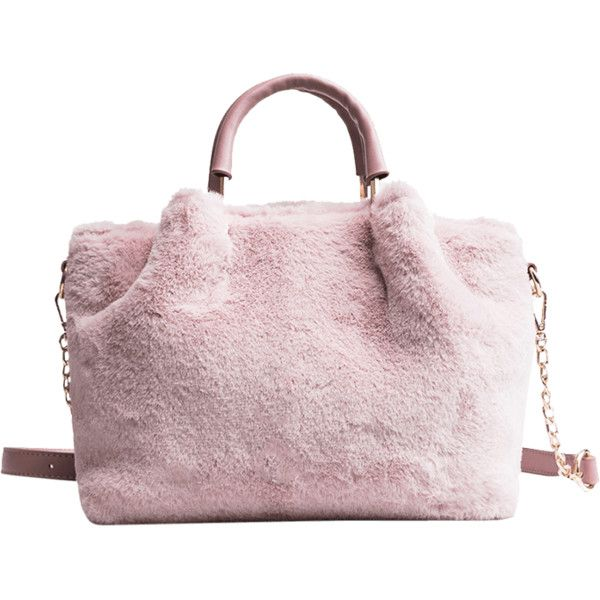 Pink Faux Fur Handbag With Strap ( 14) ❤ liked on Polyvore ... ed7451d7a5
