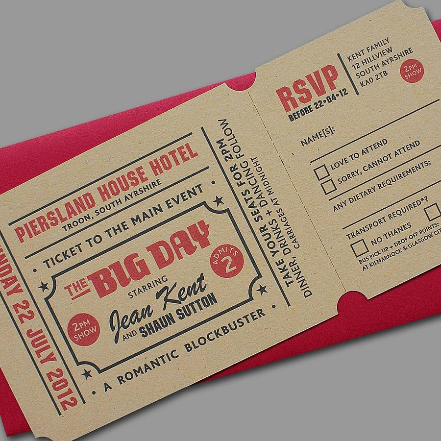 Vintage Ticket Style Wedding Invitations Uk | My future Big Day ...