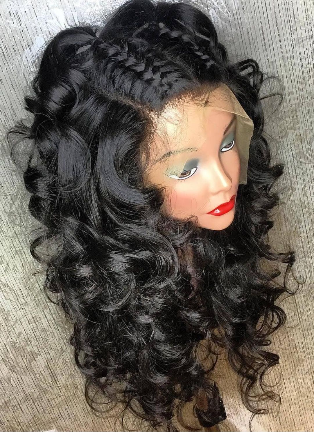 9a Braid Down Loose Wave Lace Front Wig 20 Inch Full Lace Wig Human Hair Wig Hairstyles Curly Hair Styles Naturally