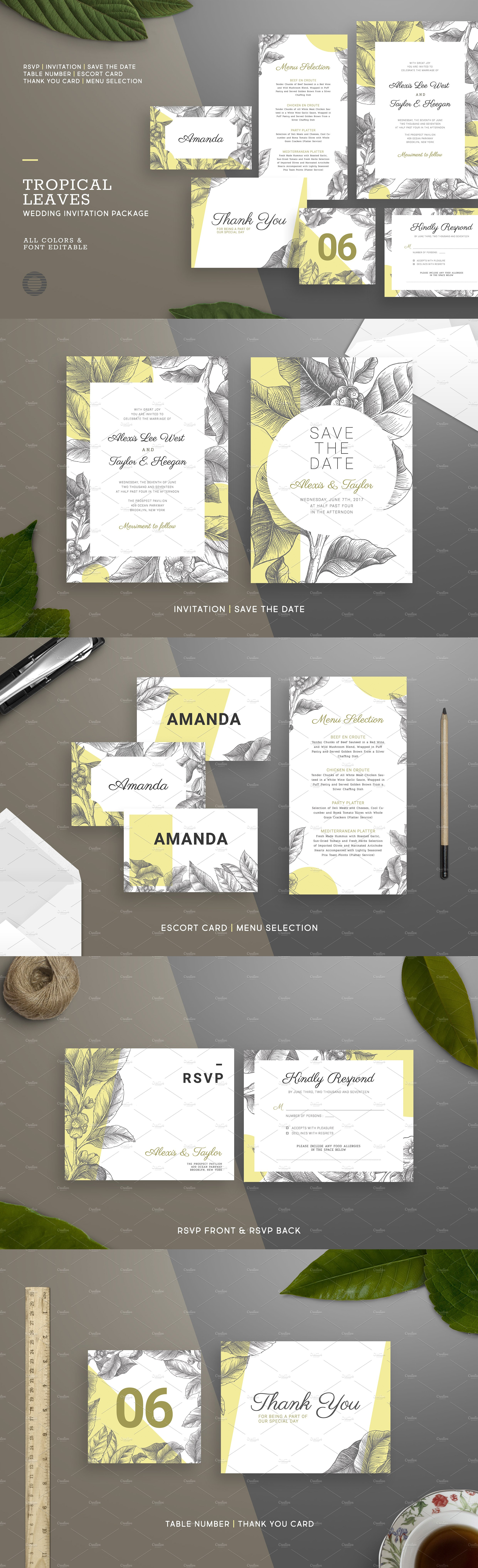 Tropical Leaves Wedding Invitation Templates PSD | Invitation ...