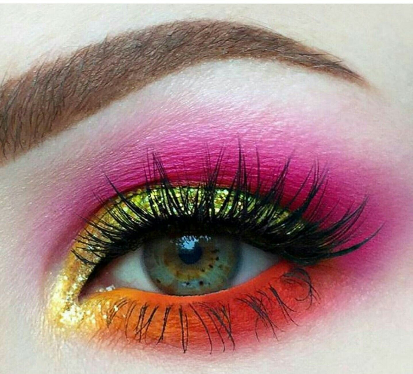 Pink Orange And Yellow Eyeshadow Makeup Pinterest Makeup