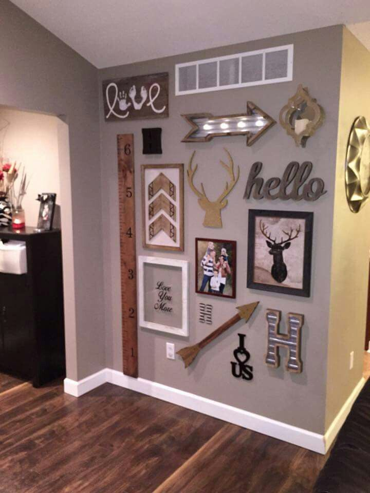 Adorable wall, some decor came from hobby lobby | cosas para el apto ...