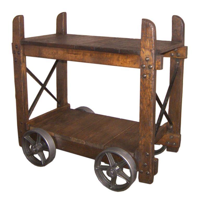 Vintage Industrial Wood U0026 Cast Iron Bar Cart / End Table  1