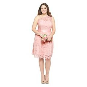 1578fdb64d4112 Women s Plus-Size Scalloped Lace One-Shoulder Bridesmaid Dress Porcelain  Pink 20W - TEVOLIO™   Target