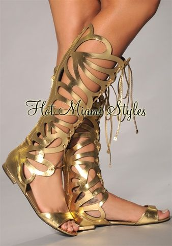 Gold Cut-Out Knee High Gladiator Sandals
