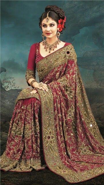 3ee635f0a94 Burgundy and gold sari. Burgundy and gold sari Indian Bridal Wear