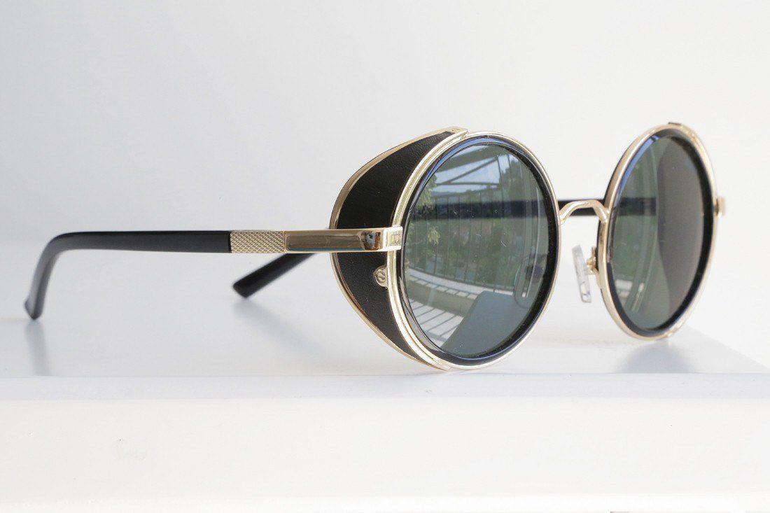 69526b057 Óculos De Sol - THE TARANTINO | Óculos De Sol Retrô Redondo Steampunk Com  Proteção Lateral