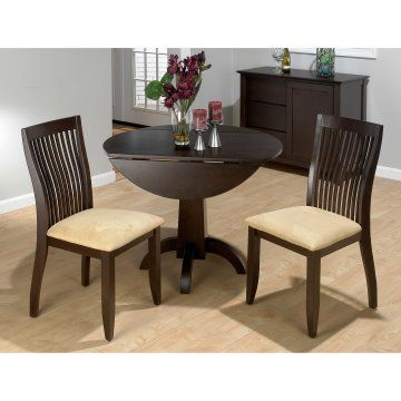 Jofran Dark Chianti 3 Piece Small Double Drop Leaf Bistro Table And