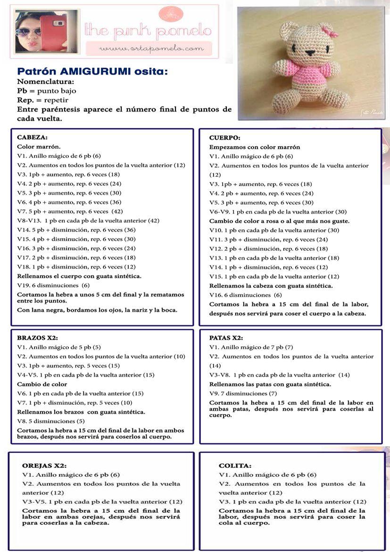 Osita Amigurumi Patrón Gratis en Español | Crochet Cute Cute Cute ...