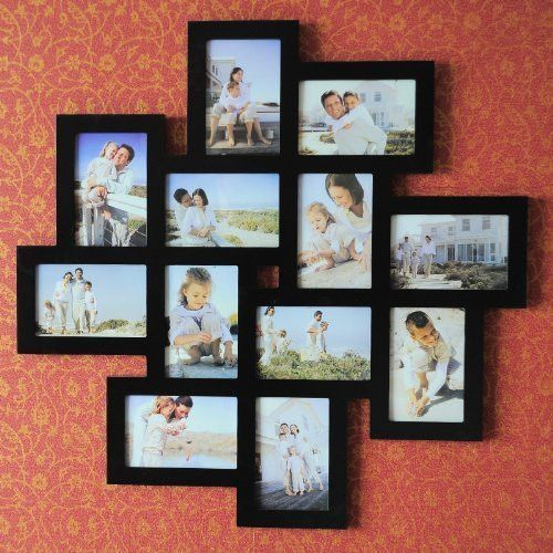 Adeco Decorative Black Wood Wall Hanging Collage Picture Photo Frame 12 Openings 4x6 With Images Picture Wall Layout Gallery Wall Layout Picture Collage