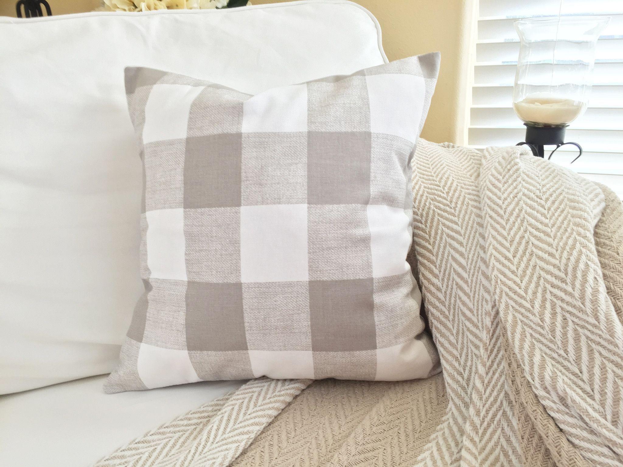 Ecru buffalo plaid pillow cover in home decor pinterest