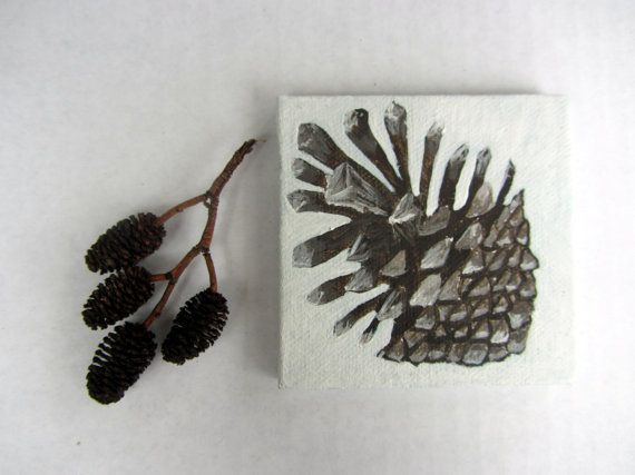 Miniature painting on canvas Pinecone Woodland by Treelovergirl, $18.50