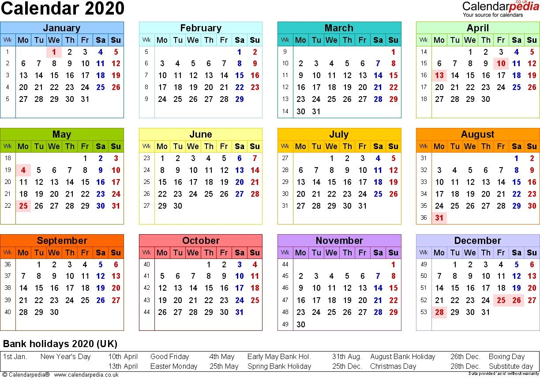 2020 Calendar Uk Printable Calendar Template Calendar