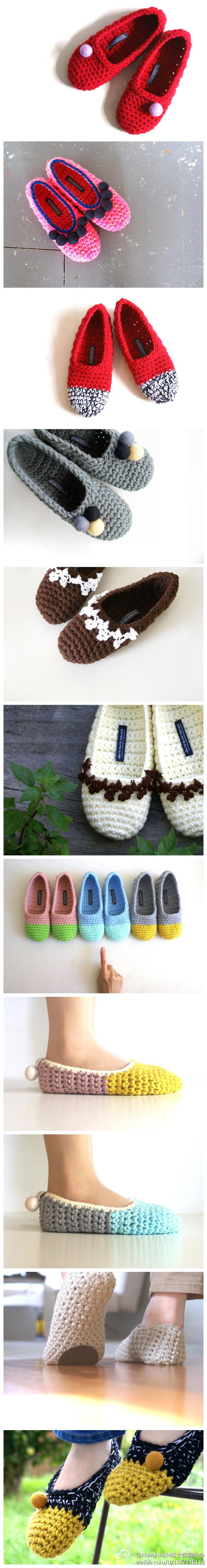 用毛线编织的可爱鞋子