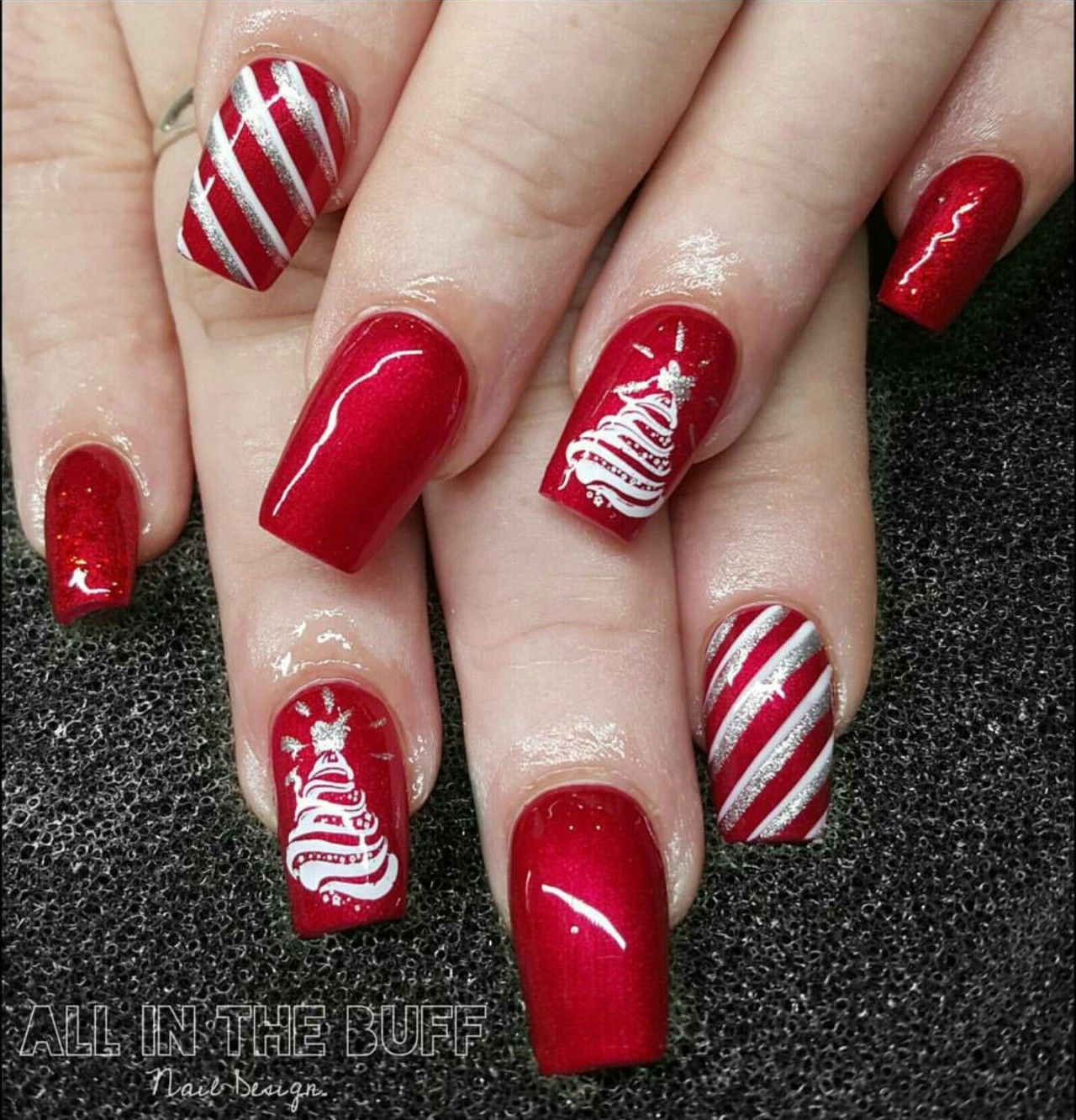 Red glitter marble design acrylic nails candys pinterest also rh