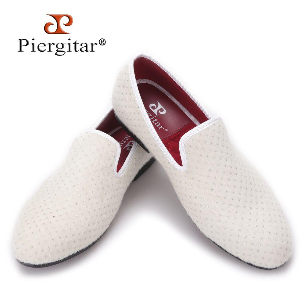 Handmade men white velvet shoes
