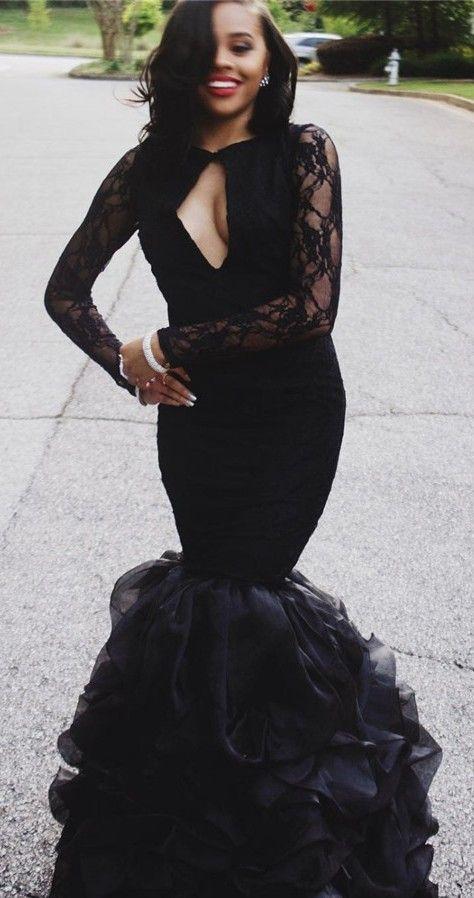 Sexy Keyhole Neck Long Sleeves Black Ruffles Skirt Lace Mermaid Prom