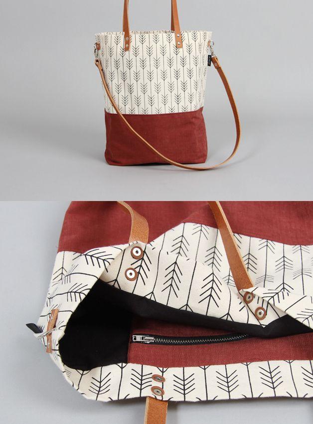 Schultertasche mit grafischem Muster, Rot // shopper, bag, grafics ...