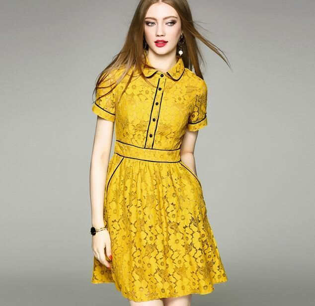cc3f5c5fe5be Womens Slim Fit Yellow Lace Short Sleeve Tutu Dress Knee Length Casual  Sundress