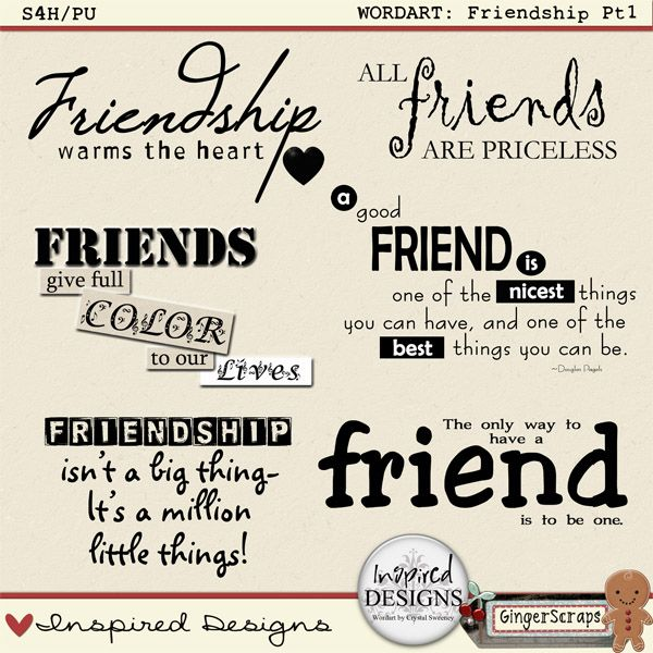 FRIENDSHIP PT1: Wordart by Inspired Designs