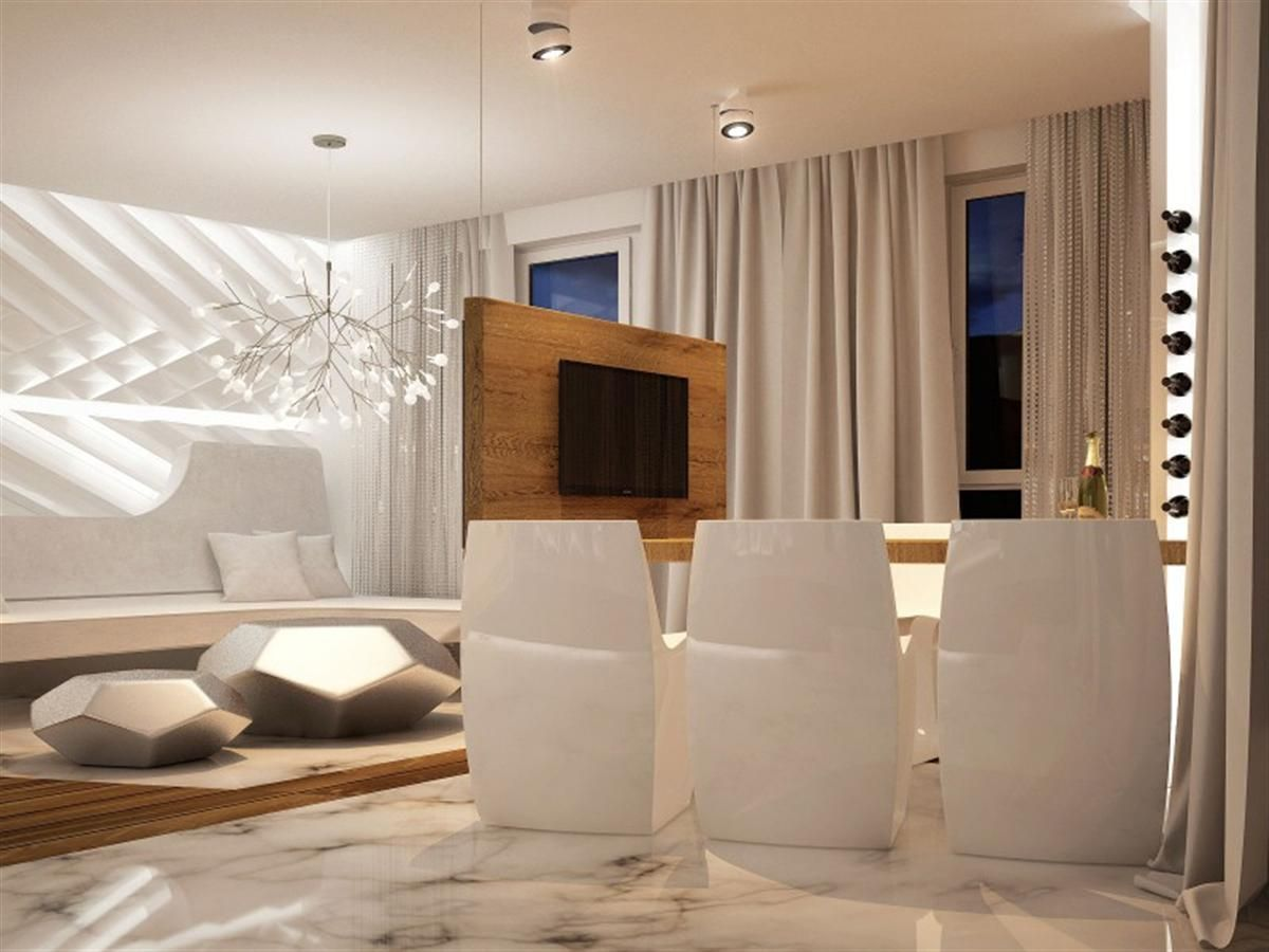 Magnificent and futuristic interior home glossy white seats on