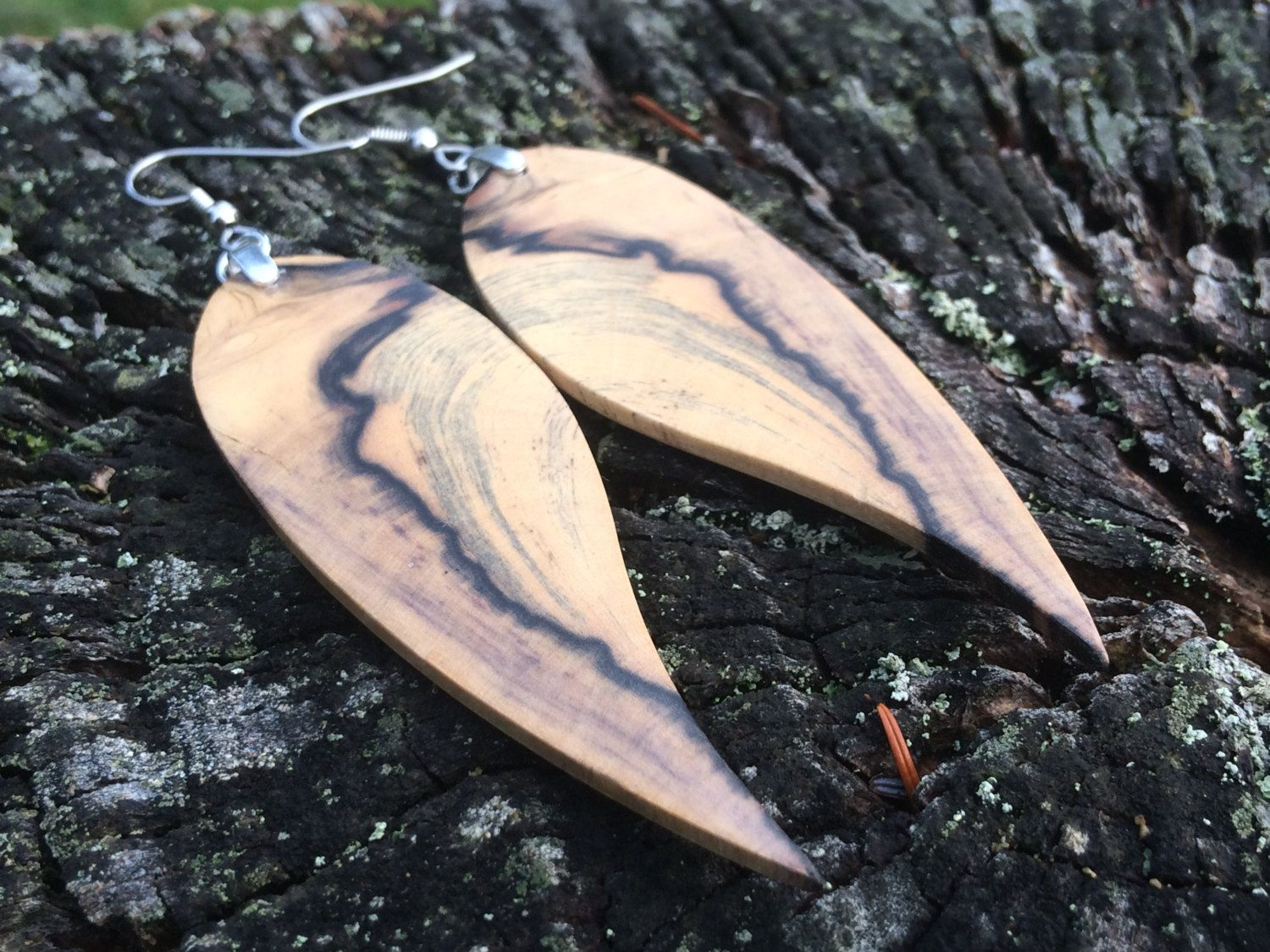 Angel Wing Wood Reclaimed Earrings Lightweight by forestlifecreations on Etsy