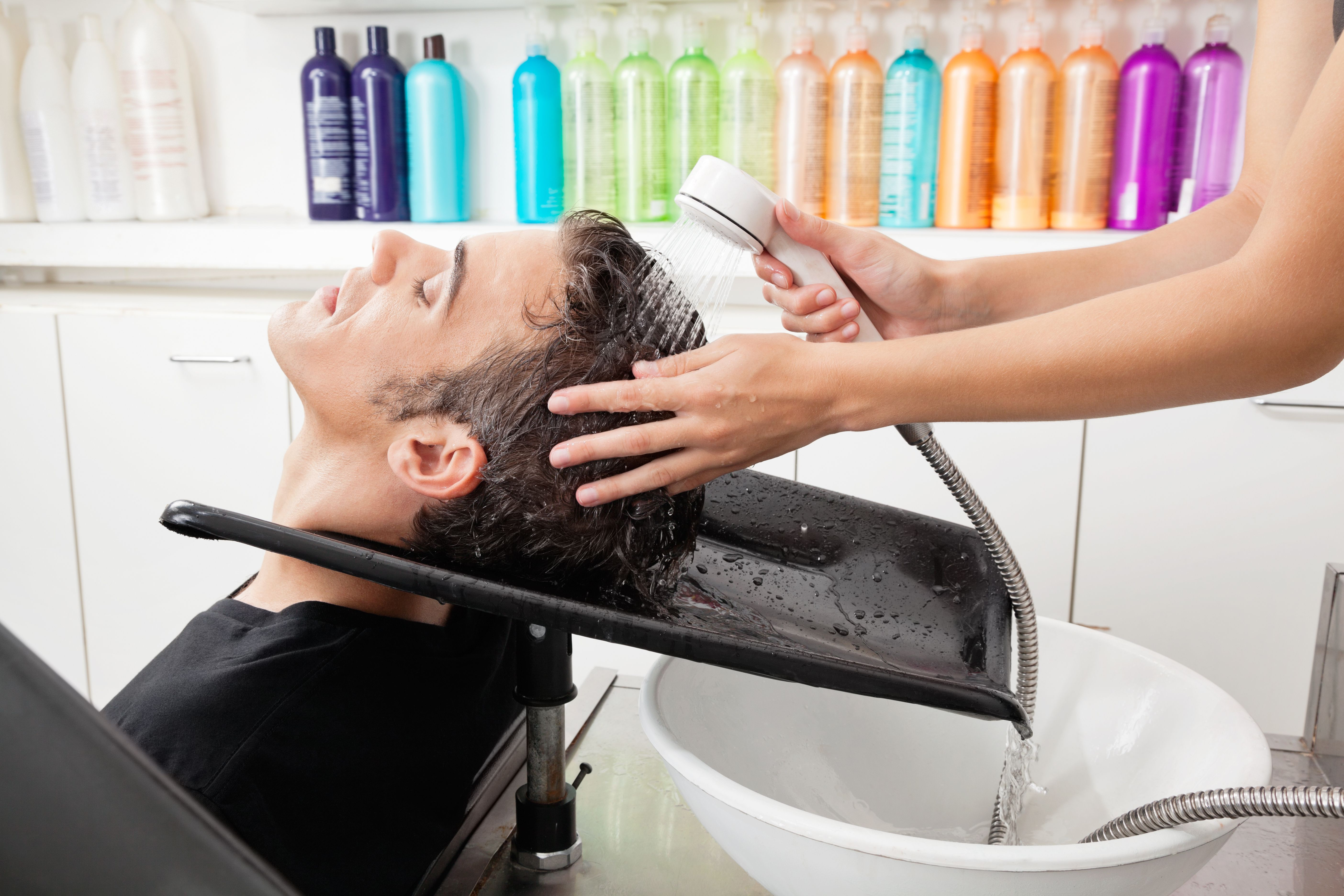 Male customer having hair washed at salon esthetician cosmetology fandeluxe Choice Image
