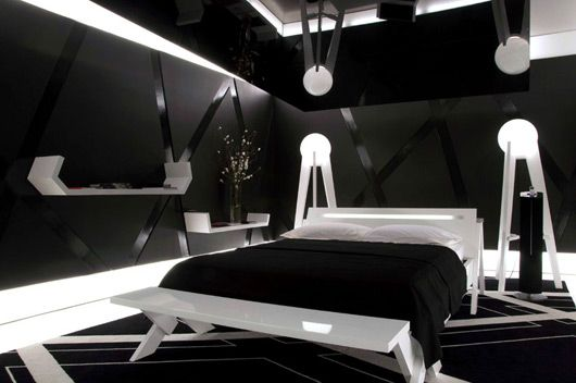 Whimsical Black And White Bedroom Interior