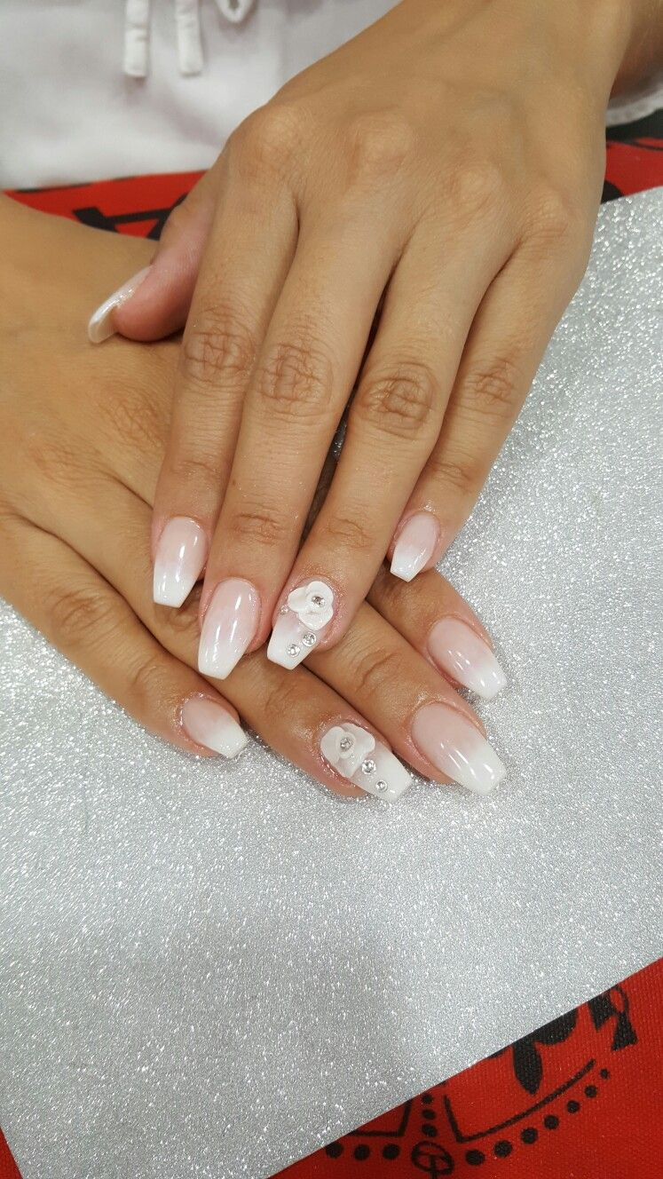 Beautiful Ombre Coffin Nails With A Flower For The Bride Nail Art