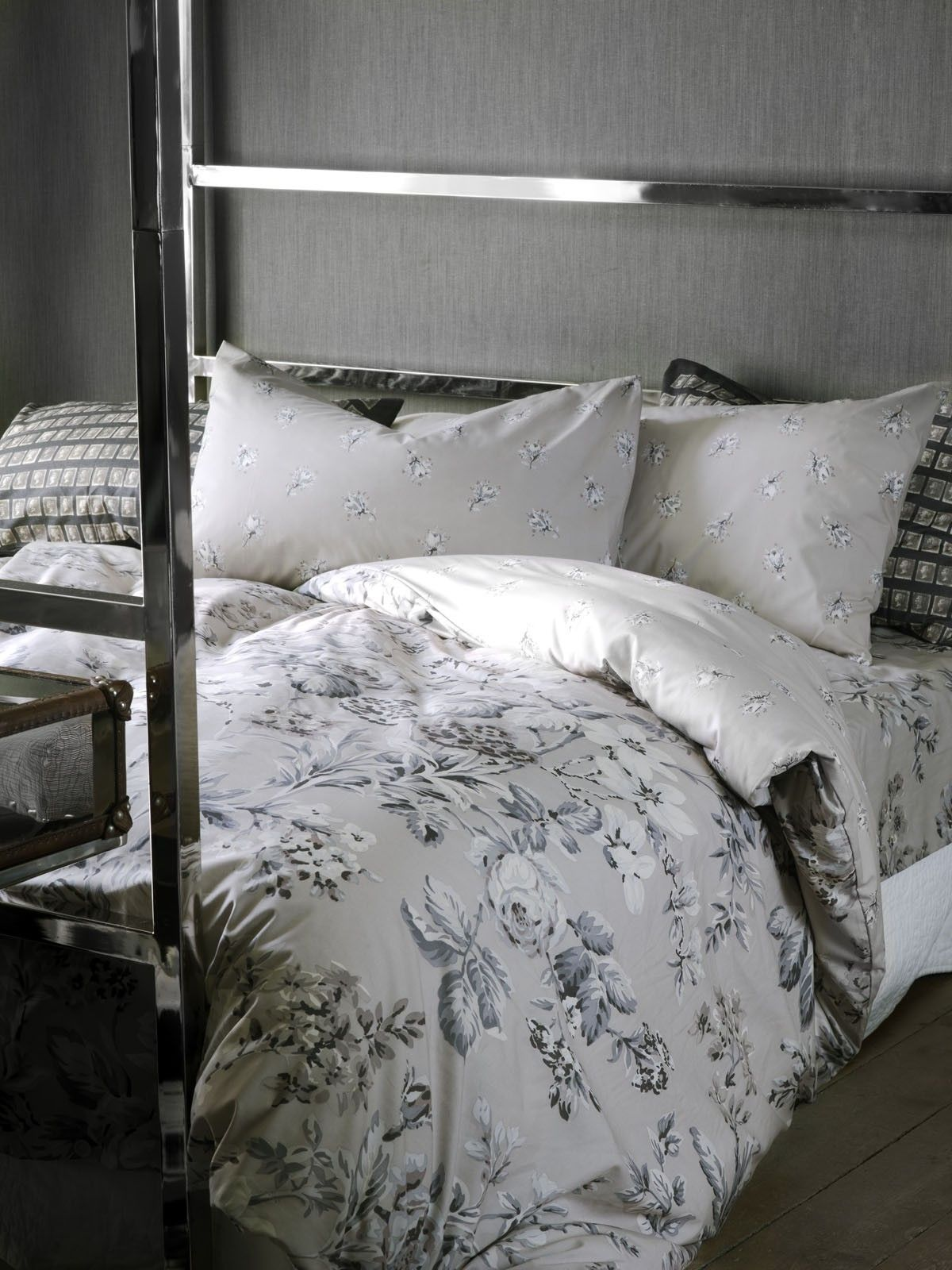 Yellow and gray floral bedding - Botanist Grey Bedding
