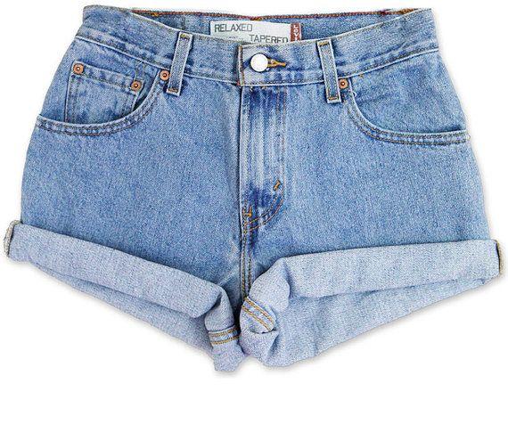 f28c1c3718 Vintage 90er Jahre Levis mittlere blau Wash taillierte Hochhaus Offs Cuffed  geschnitten gerollt Jean Denim-Shorts-Größe 26