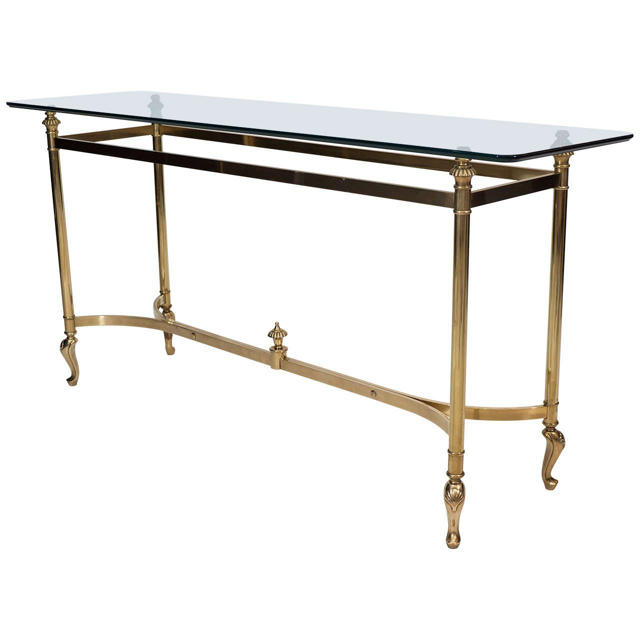 Brass console table in the manner of maison jansen from a unique collection of antique