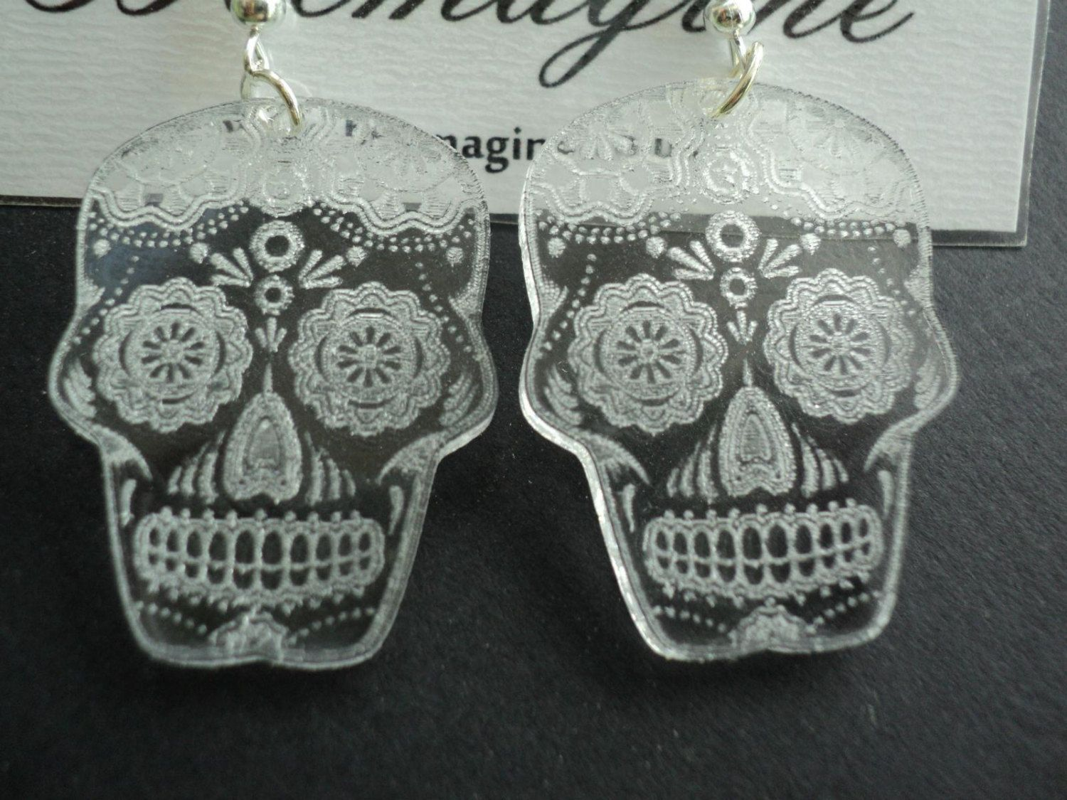 006fe0d4b Laser cut and engraved clear acrylic earrings Sugar by Beemagine, £3.99