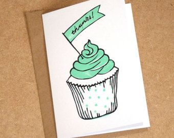 Thank You Cupcake Card, hand-printed linocut card in mint, orange or berry