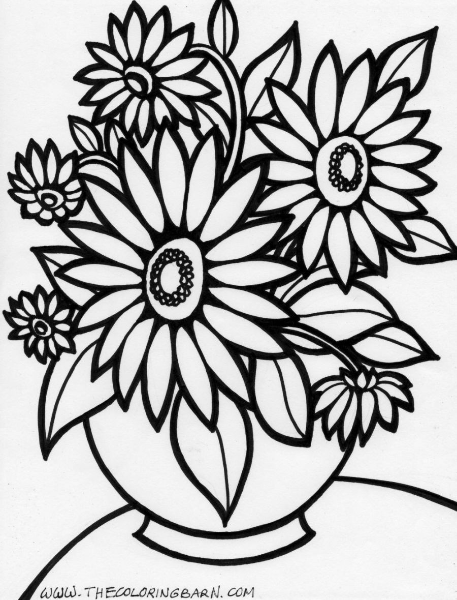 Flower arrangement coloring pages - Printable Coloring Pages Of Flowers