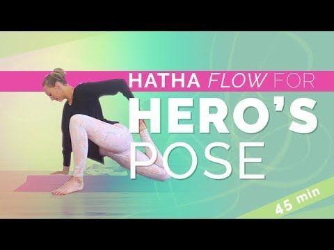 hatha yoga flow virasana  hero's pose and reclining hero