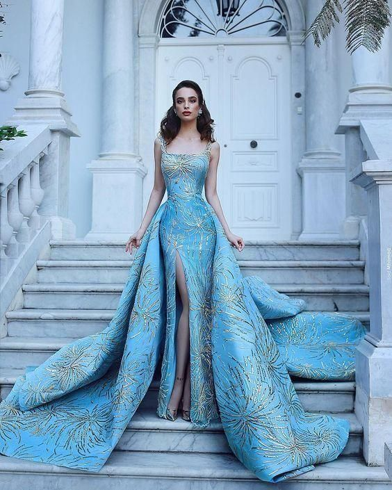 gorgeous long blue prom dress,luxury evening dress,wedding dress cg6306