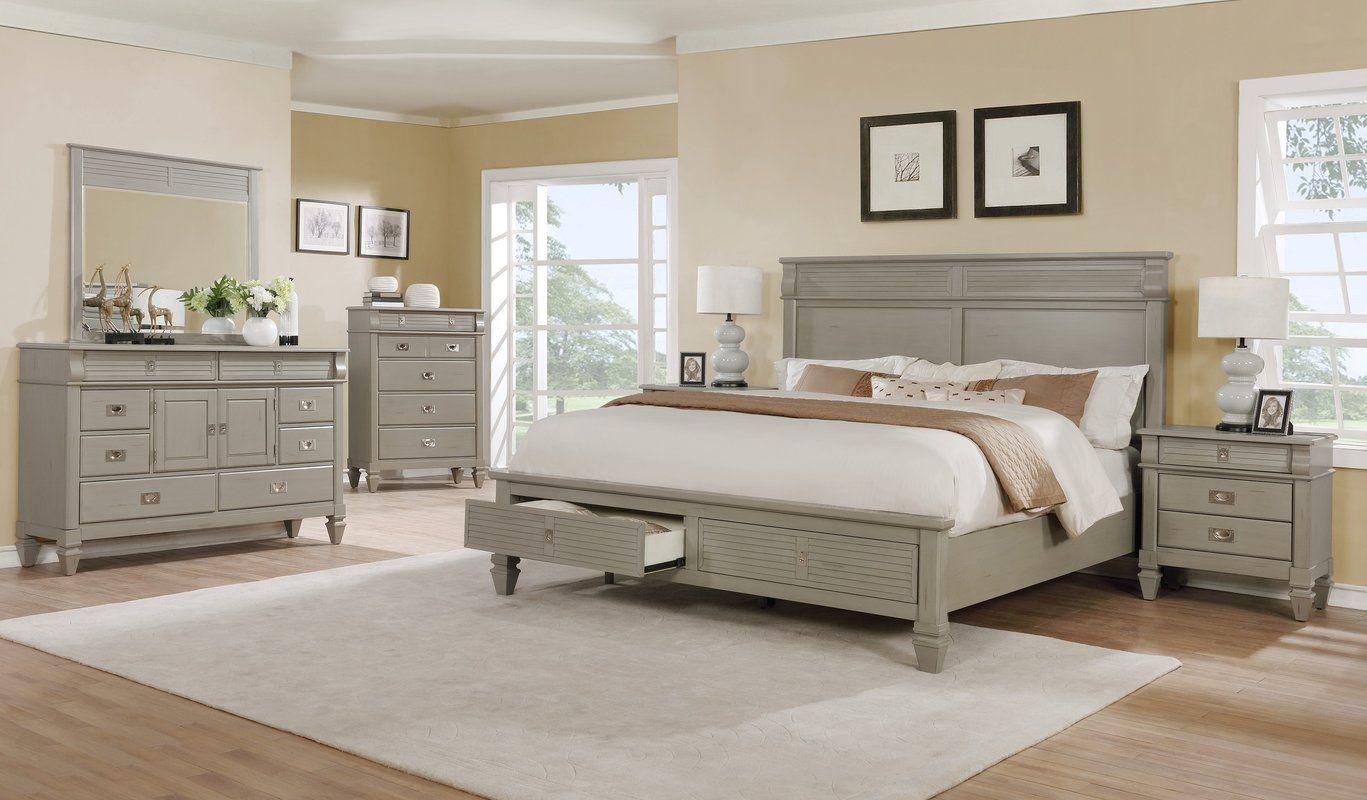 Vasilikos Platform Solid Wood 4 Piece Bedroom Set White Bedroom Set Furniture White Bedroom Set Off White Bedrooms