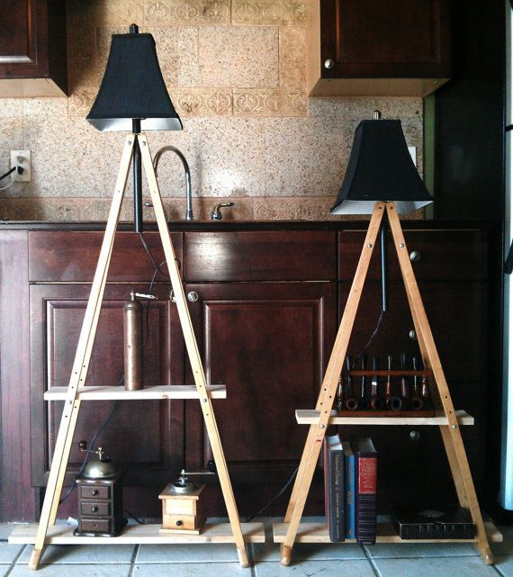 Upcycled Lamps And Lighting Ideas: Upcycled Crutches Lamp And Shelving Unit By GeneralRestore