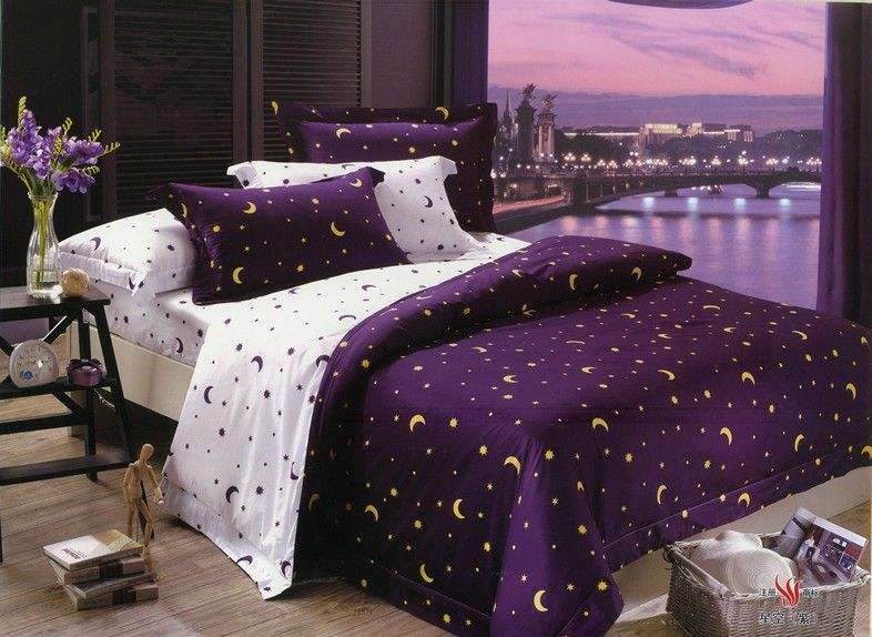 Red And Purple Bed Comforter King Size Purple White Moon And