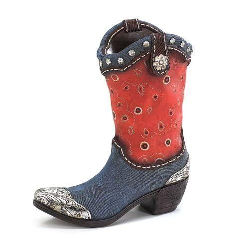 Blue Denim Western Cowboy Boot Vaseplanter For Home Decor And Rhpinterest: Cowboy Boot Home Decor At Home Improvement Advice