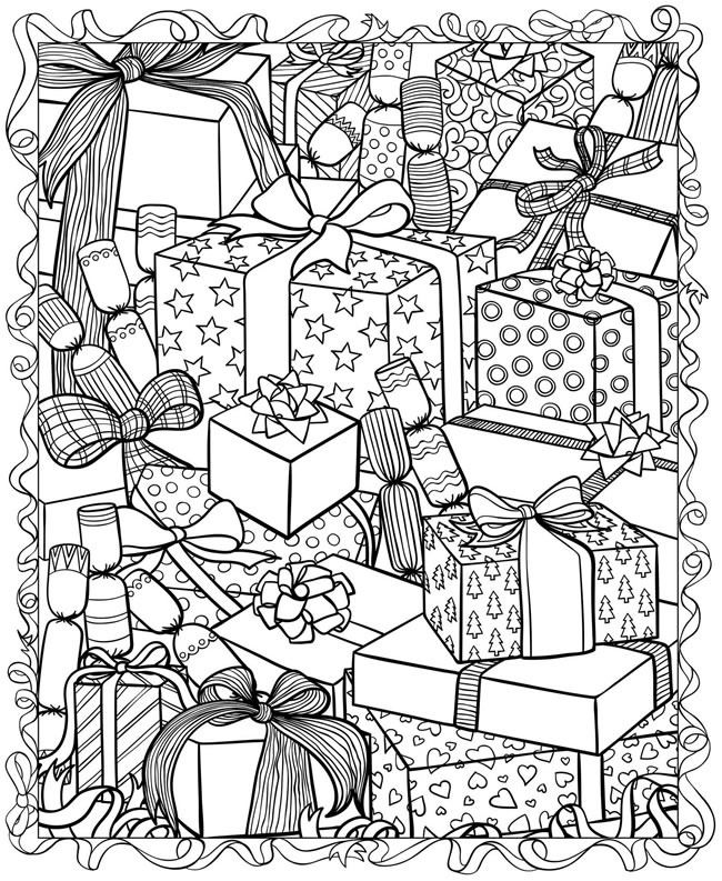 Christmas printable coloring page presents Everything Etsy